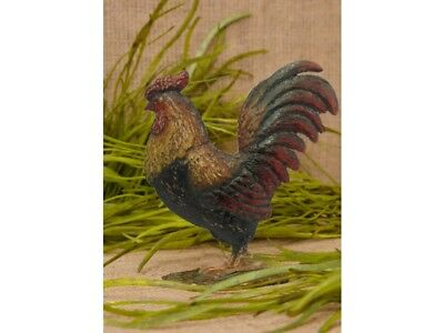 FARMHOUSE Rooster Chicken Farm Animal Small Metal Rooster on Base COUNTRY DECOR
