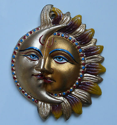 **Beautiful** Painted Metal Indian Sun & Moon Wall Plaque 16.5cm