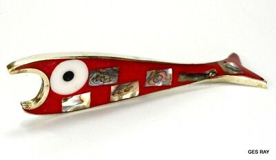 Mexican Alpaca Twisted Red Abalone Mother of Pearl Fish Bottle Opener