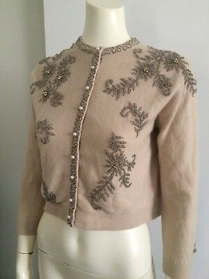 Original Vintage 50s 60s Gold beaded Cardigan , Sweater  , Pinup Rockabilly