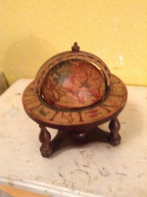 Vintage Globe Table Top Wooden Stand Zodiac