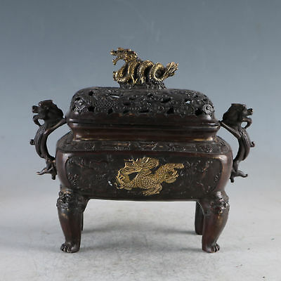 Chinese Ancient Gilt Copper Golden Dragon Incense Burner MadeDuring The Da Ming`