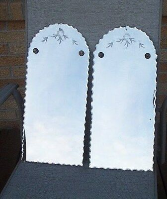 Vintage Matching Pair Of Mini-Scalloped Beveled Mirrors, Wall Hangers
