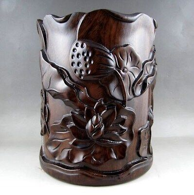 Beautiful Chinese Unique HuaLi Wood Carved Brush Pot nice e02