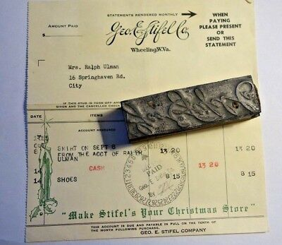 RARE Large Geo E. Stifel Printing Block & Receipt Wheeling, West Virginia AAFA