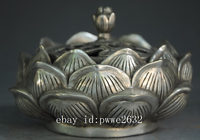 chinese Old copper plating silver Lotus Hollow Out Buddhism Incense Burner d02