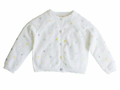 Zubels 100% Hand-Knit Cardigan with Pastel Dot Pattern All Natural Fibers