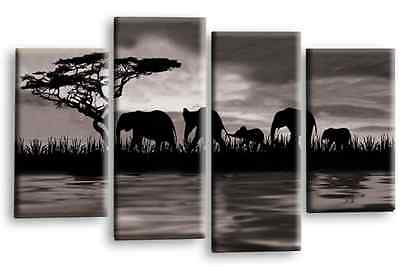 Elephant Art Picture Grey Black White Sunset On Water Canvas Wall Multi 4 Panel
