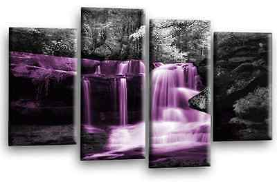 Large Purple Grey Black White Waterfall Canvas Wall Art Picture Print 4 Panels