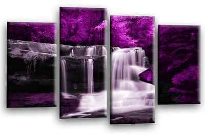 WATERFALL FOREST Canvas WALL ART Picture Print Purple Grey Black White 4 Panel