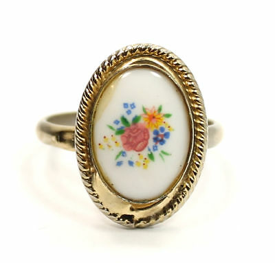 Vintage Colourful Flower  Gold Tone Estate Ring Size 7 1/2 (adjustable)
