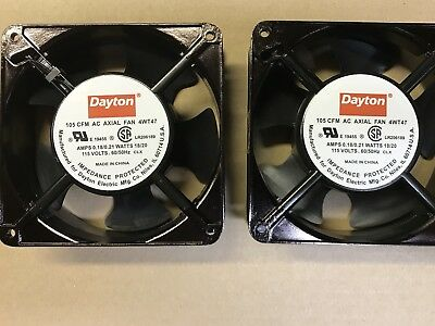 2 Dayton Square Axial Fans 4WTA7 With Dust Covers And Plug In Cords