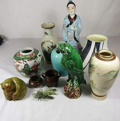 Lot Of Antique Asian Chinese Japanese Vases Figures Porcelain Bronze Pottery