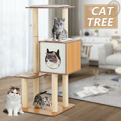 "72"" Cat Tree Condo Climbing Tower Scratching Kitty House w/Hammock 3 Rats Beige"