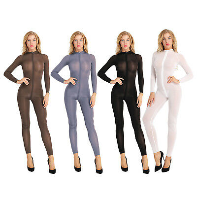 30893c5e8b0 Sexy Womens Zipper Sheer Jumpsuit Bodycon Bodysuit Playsuit Clubwear  Lingerie