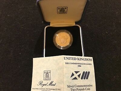 1986 Scotland Commonwealth Games silver 2 pound proof Royal Mint Commemorative