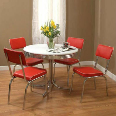 Retro Table Vintage 4 Chairs Kitchen Set Chrome Mid Century Dining 1950s Dinette