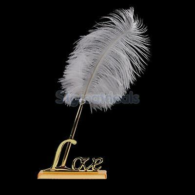 Engagement White Feather Signing Pen with Metal Love Holder Wedding Pen Set Gold