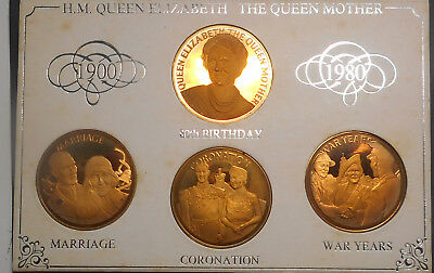 Great Britain 1980 Queen Mother 80th Birthday medal set in  card   (4) BUNC