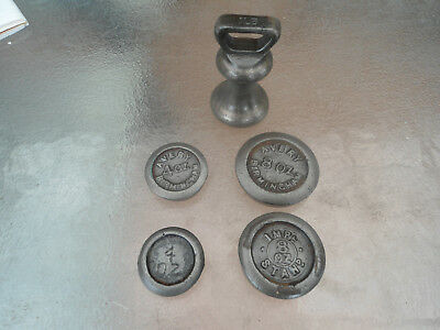 ANTIQUE SCALE WEIGHTS X 5 /1950s