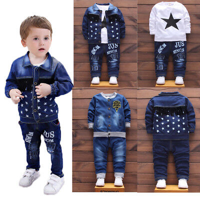 1 set baby toddler Kids boys jeans outfits coat jacket+pants boys outfits & sets