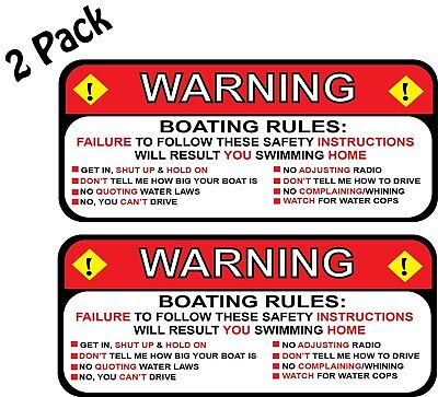Pair 2 Jeep Rules Warning Wrangler Sahara Decal Sticker Funny 25