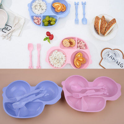 3pcs Natural Wheat Straw Baby Children Kid Dinner Plate Creative Car Food Bowl