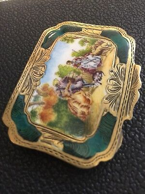 Antique Austrian Solid Silver Gilt Enamel Hand Painted Compact Case Box