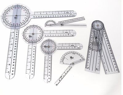 Set of 6 Piece Spinal Finger Goniometer Protractor Ruler 360 Degree 12 inch 8