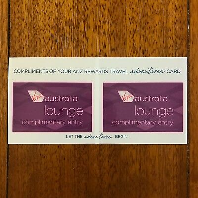 2 x Virgin Australia Lounge Pass / Complimentary Entry - Exp Apr 2019