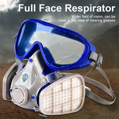 Silicone Full Face Respirator Gas Mask + Goggles Particulate Chemical Dustproof