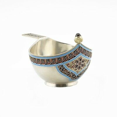 An antique Russian silver-gilt and cloisonné enamel kovsh set with 1891 ruble
