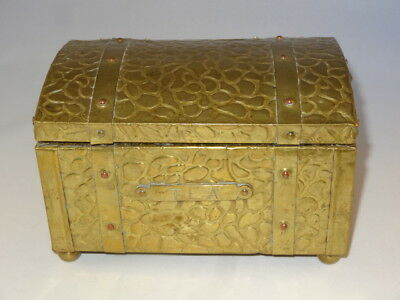 Antique Victorian Wood & Brass Zinc Lined Tea Caddy Chest With Strapping