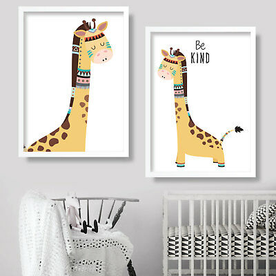 Pair of TRIBAL GIRAFFE be KIND Art Print NURSEY wall decor poster kids picture