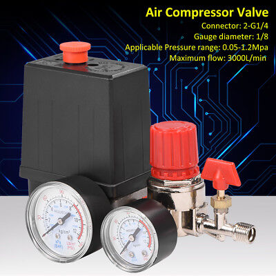 Air Compressor Pressure Switch Control Valve Regulator Gauges 2-G1/4 Connector