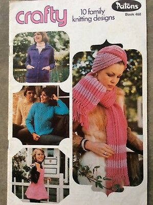 Vintage Patons Knitting Pattern Book 460 Crafty 10 Family Knitting Designs
