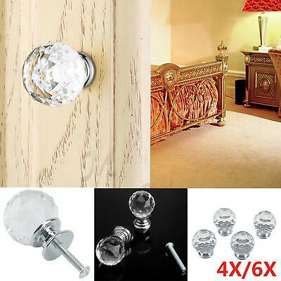 4/6 Pcs Door Knobs Handles Clear Crystal Glass Cupboard Drawer Cabinet Kitchen
