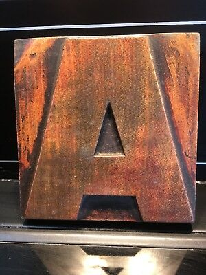 Wooden Vintage Printing Block letter A  5 x 5 inch
