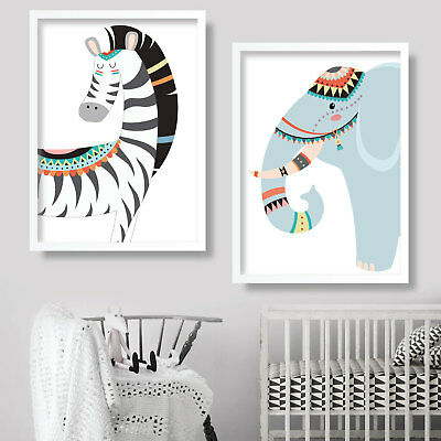 Pair of TRIBAL ZEBRA & ELEPHANT Art Print NURSEY wall decor poster kids picture