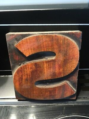 Wooden Vintage Printing Block letter S  5 x 5 inch