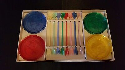 VINTAGE PLASTIC CANAPE SET-8 x COASTERS & 8xSWIZZLE STICKS/HORS D'OEUVRE FORKS