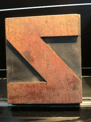 Wooden Vintage Printing Block letter Z  5 x 5 inch