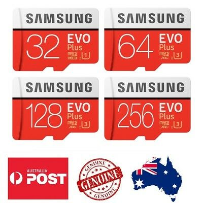Samsung 32GB 64GB 128GB 256GB micro SD Evo Plus Memory Card, SD Adapter 100MB/s