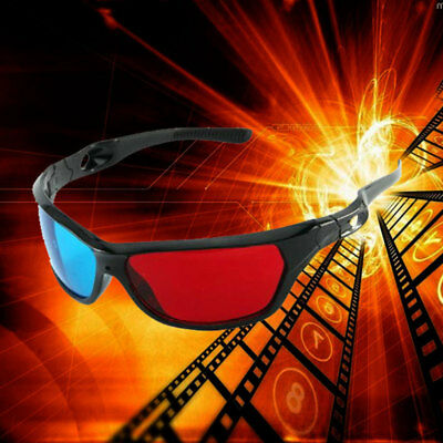 1x Black Frame Red Blue 3D Glasses For Dimensional Anaglyph Movie Game DVD Hot