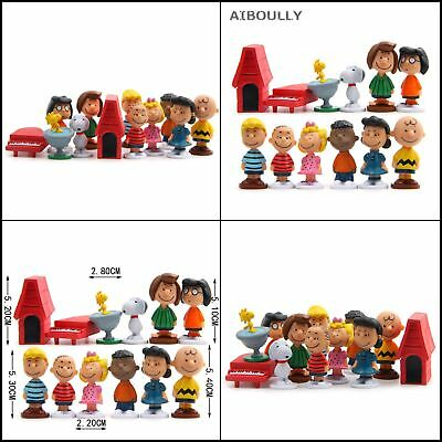 Peanuts 12 Pcs Playset Cake Toppers Snoopy Charlie Lucy Franklin Toy Doll