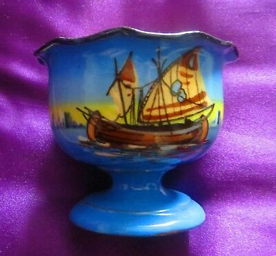 Rare Watcombe Torquay Pottery Egyptian Sailing Boat Or Dhow Pattern Sugar Bowl