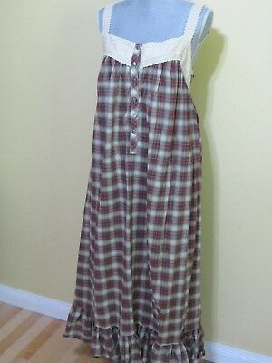 Victoria's Secret Country Nightgown Lace, Embroidery & Plaid Homespun Look NWOT