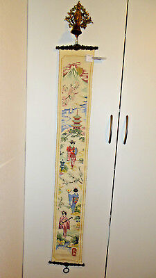 Antique Embroidered Bell Pull Cord Chinese Theme,  Nice Hardware