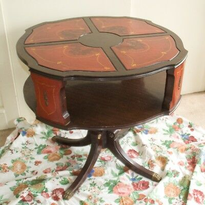 Antique Vintage Duncan Phyfe Leather Top Round Drum Table