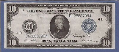 1914 $10 FRN,Blue Seal Large Note,4-D Cleveland,FR 919c,Circulated VF,Nice!